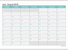 July and August 2016 Printable Calendar icalendarsnet
