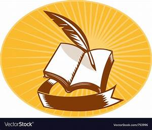 Book with quill pen and scroll Royalty Free Vector Image