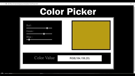 html color picker  html css  javascript jquery youtube