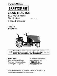 Craftsman Lt2000 Owner U0026 39 S Manual