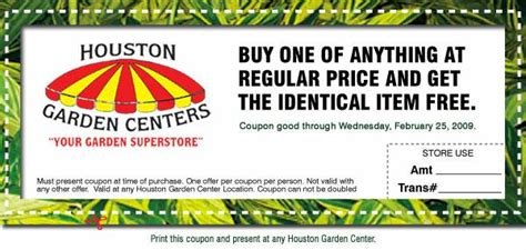 two for one at houston garden centers with this coupon