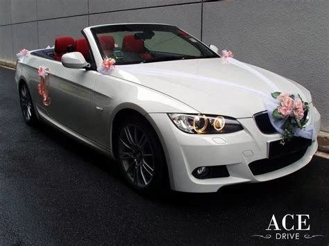 peach car bmw 320i cabriolet wedding car decorations