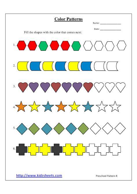 kidz worksheets preschool color patterns worksheet8 608 | Pattern8