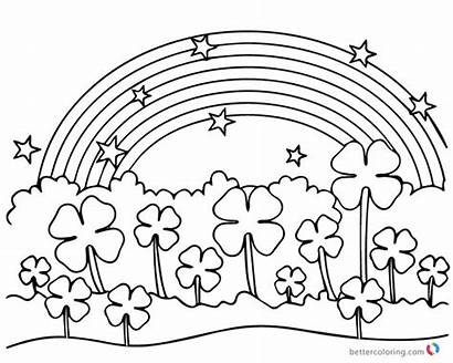 Coloring Rainbow Pages Flowers Clover Leaf Four