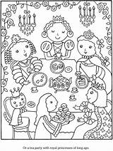 Coloring Pages Tea Party Colouring Adult Princess Sheets Monica Cook Birthday Doverpublications Dover Publications Adults Crafts Wellington Welcome Parties Activities sketch template