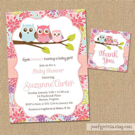 Free Printable Baby Shower Invitations For - owl baby shower invitations diy printable baby by poofyprints