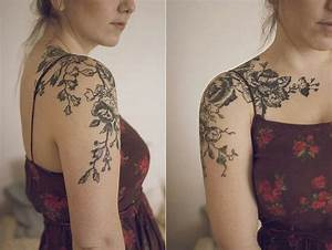 Delicate floral antique tattoo on the shoulder cap ...