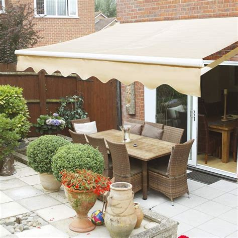 ft patio manual retractable sun shade awning weather resista xtremepowerus