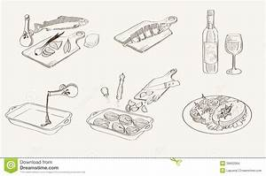 Vector Process Fish Cooking Sketch Stock Vector