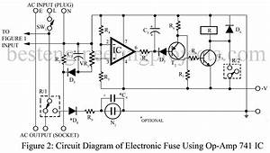 electronic fuse using op amp 741 With electronic fuse circuit for power supply current electronic fuse power