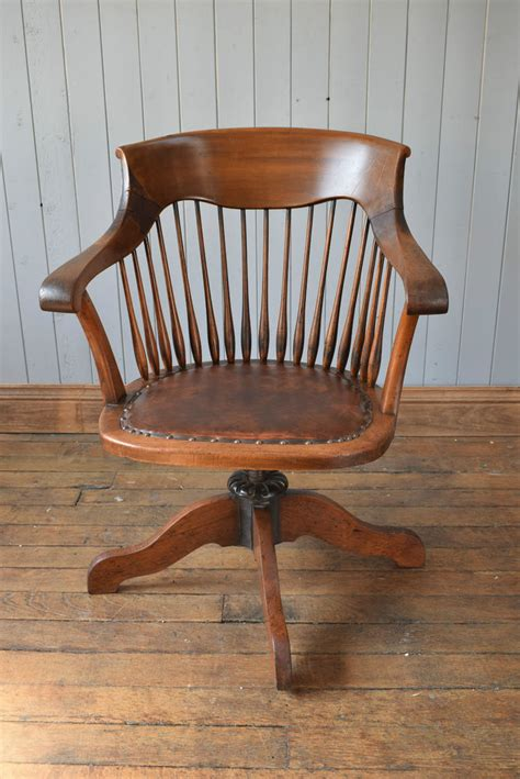 wooden swivel desk chair antique vintage wooden captain s swivel office desk chair