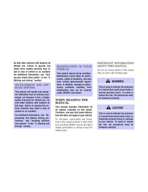 free online car repair manuals download 1998 infiniti qx electronic valve timing 1998 infiniti qx4 owners manual