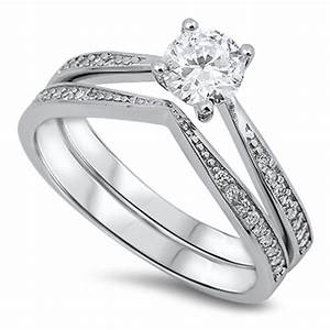 women39s wedding set solitaire white cz ring 925 sterling With women s plus size wedding rings