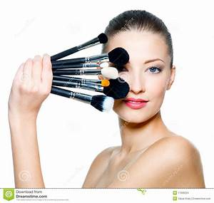 Portrait Of Beautiful Woman With Make-up Brushes Stock ...