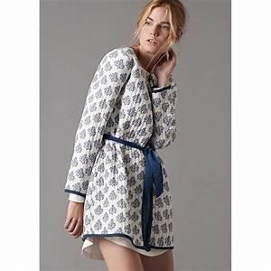 Robe de chambre legere courte ete coton femme blanche for Robe de chambre d été