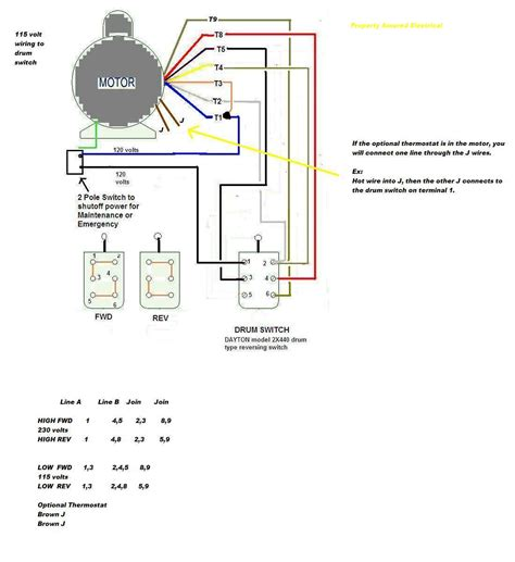 how to wire a baldor l3514 to a 6 pole drum switch single phase 115 volt switch when in fwd