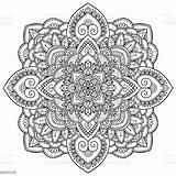Mandala Coloring Outline Adults Antistress Drawing Vector Illustration Abstract Arab Ukraine Backgrounds Culture sketch template