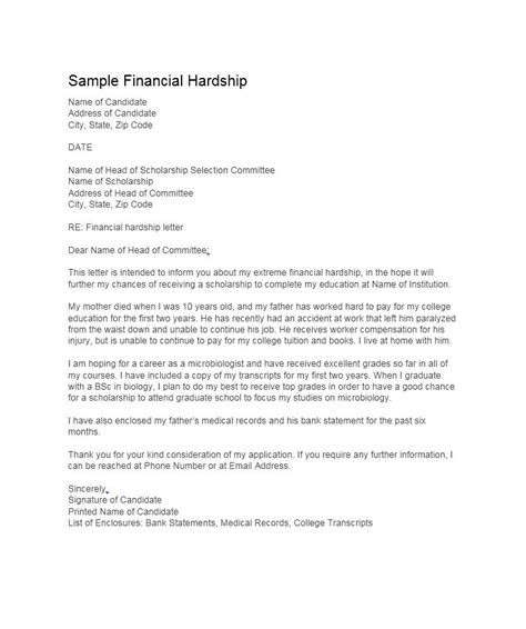 simple hardship letters financial  mortgage
