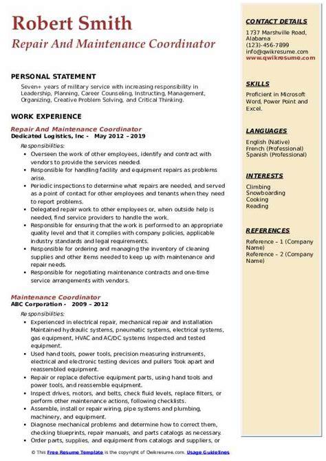 maintenance coordinator resume samples qwikresume