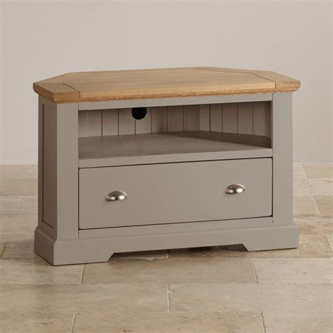 Country French Living Room Pictures by St Ives Corner Tv Cabinet In Grey Painted Acacia With Oak Top