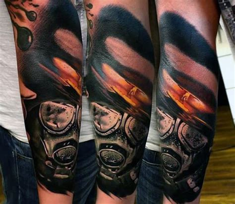 realism style colored forearm tattoo  nuclear blast
