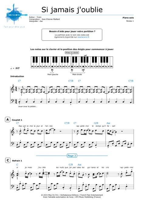 si鑒e piano partition piano si jamais j 39 oublie zaz partitions noviscore