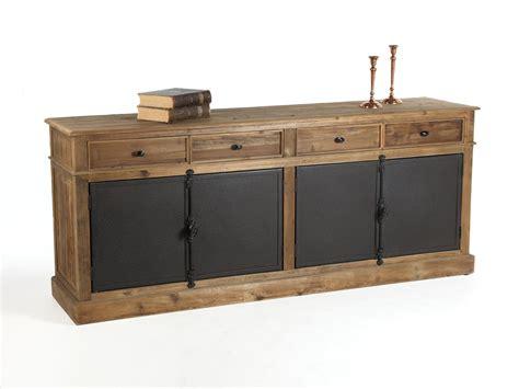 buffet cuisine en bois buffet bas en bois avec tiroirs et portes en métal