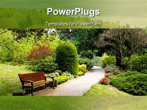 garden ppt botanical garden powerpoint template background of bench botanical flowers garden 0621