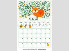 Vector Monthly Calendar Cute Sleeping Fox Stock Vector