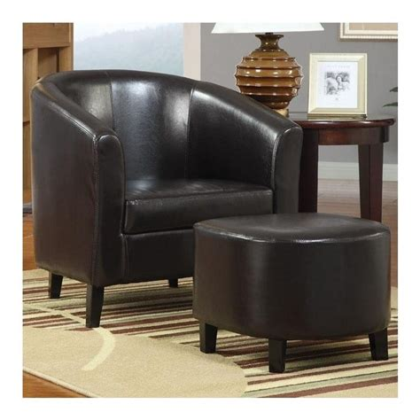 coaster faux leather accent chair and ottoman in brown