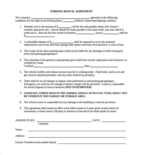 Sample Parking Agreement Template  9+ Free Documents In