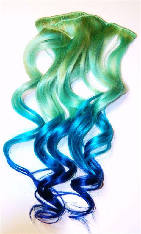 Pastel Mermaid Ombre Clip In Human Hair Extensions Dip Dye