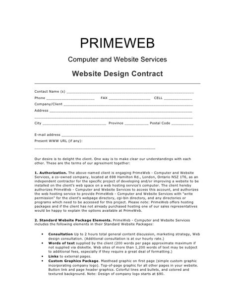 Web Design Contract Agreement - Free Printable Documents