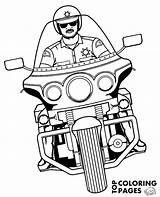 Police Coloring Motorbike Motorcycle Policeman Motorbikes Print Riding Printable sketch template
