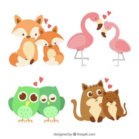 Whether animals truly have romantic feelings for each other is uncertain, but one look at these cute couples from the animal kingdom and the way they look at each other will make you a believer in. Hand drawn valentine's day animal couple collection Vector ...