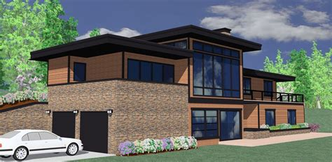 modern ranch  views front   ms architectural designs house plans
