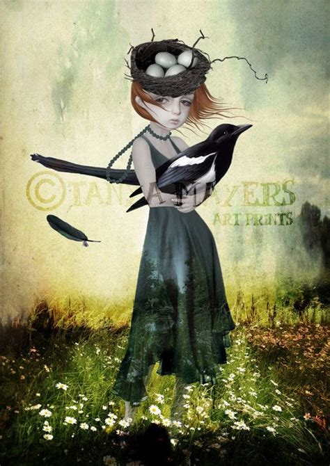 Bird Art Print Big Eyed Girl Magpie One For Sorrow