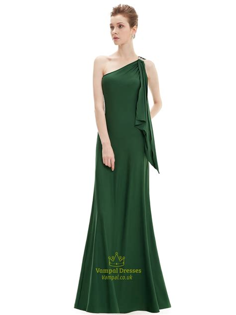 Emerald Green Sheath One Shoulder Bridesmaid Dresses With