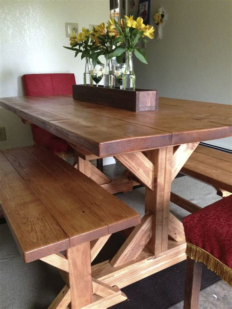 ana white fancy  farmhouse table  benches diy projects