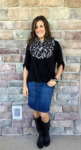 6 Ways to Style a Denim Skirt for Fall - momma in flip flops