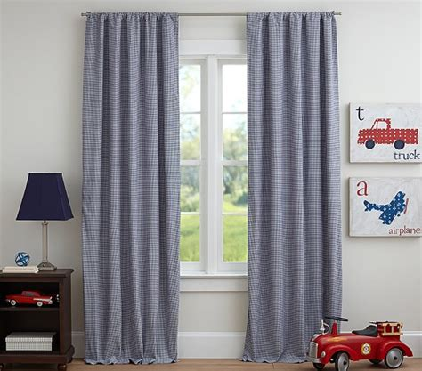 blue gingham curtains gingham blackout panel pottery barn