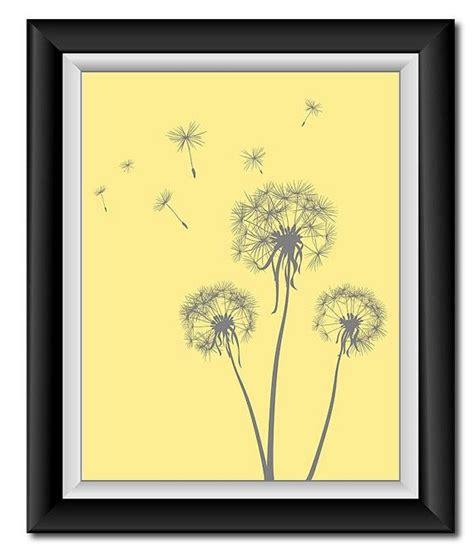 instant  grey gray yellow dandelion printable art