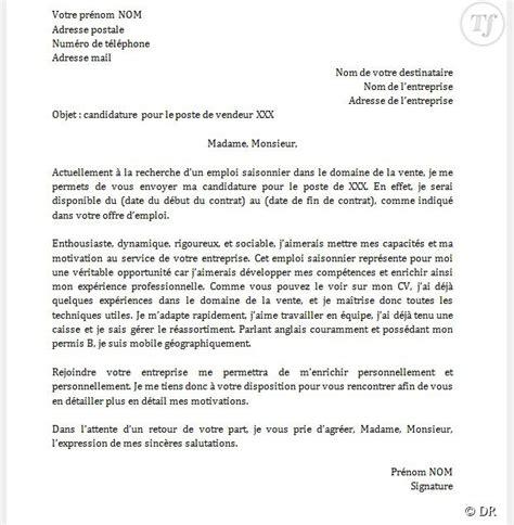 la lettre du cadre emploi lettre de motivation d 233 t 233 application