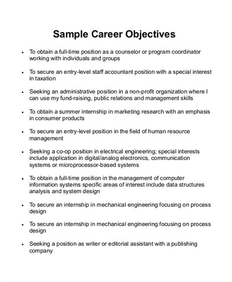 Objective Statements For Resumes by Sle Career Objective Statement 7 Exles In Word Pdf