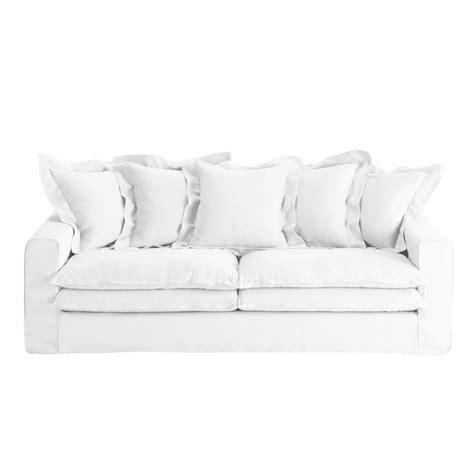 canapé en blanc canapé 3 4 places en blanc lisbonne maisons du monde