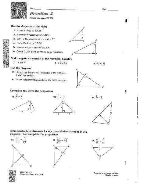 Right Triangles And Proportions Worksheet For 8th  10th Grade  Lesson Planet