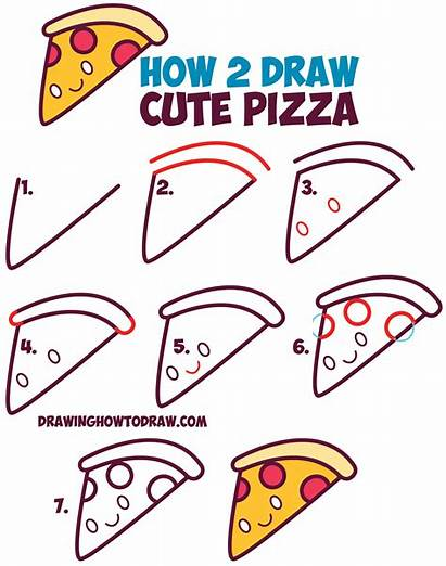 Draw Pizza Kawaii Step Easy Drawing Face