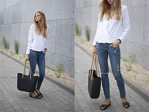 Jess A. - Sheinside Shirt Obag Bag Hu0026M Denim Jeans Crocs Flats - WHITE ENVELOPE SHIRT   LOOKBOOK