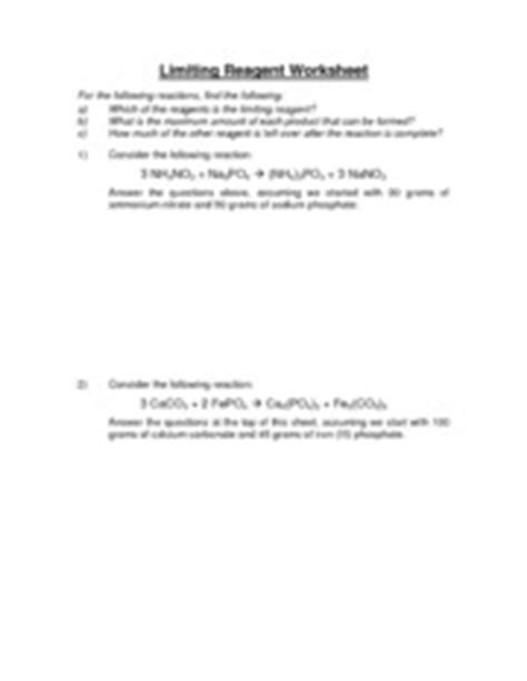 limiting reagent worksheet limiting reagent worksheet for the following reactions find the
