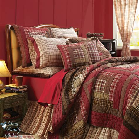 Size Bedspreads And Quilts by Rustic Log Cabin Plaid Cal King Size Lodge